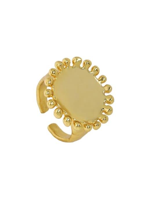 18K gold [13 adjustable] 925 Sterling Silver Round Vintage Band Ring